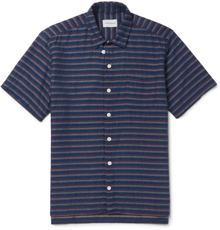 Oliver Spencer Slim Fit Striped Cotton Shirt